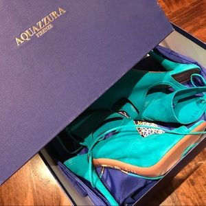 Aquazzura Sexy Sandals Torquoise 40 NEW with box